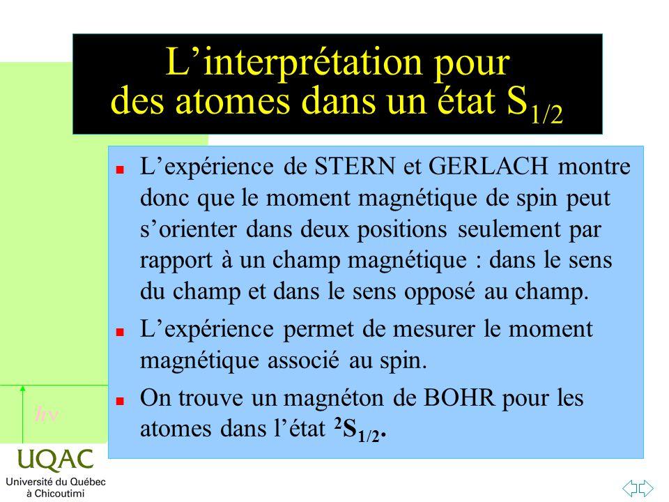 L'interprétation pour des atomes dans un état S1/2