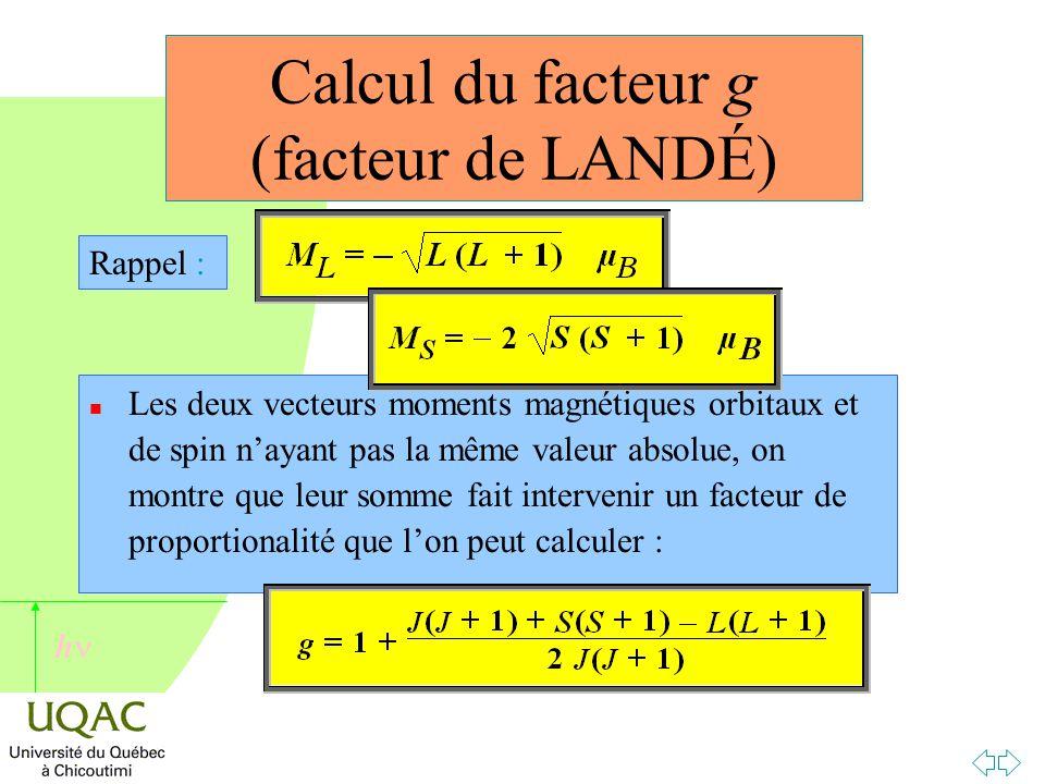 Calcul du facteur g (facteur de LANDÉ)