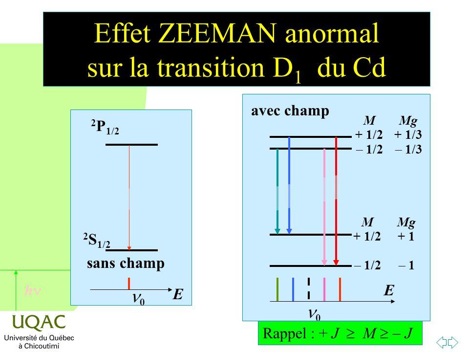 Effet ZEEMAN anormal sur la transition D1 du Cd