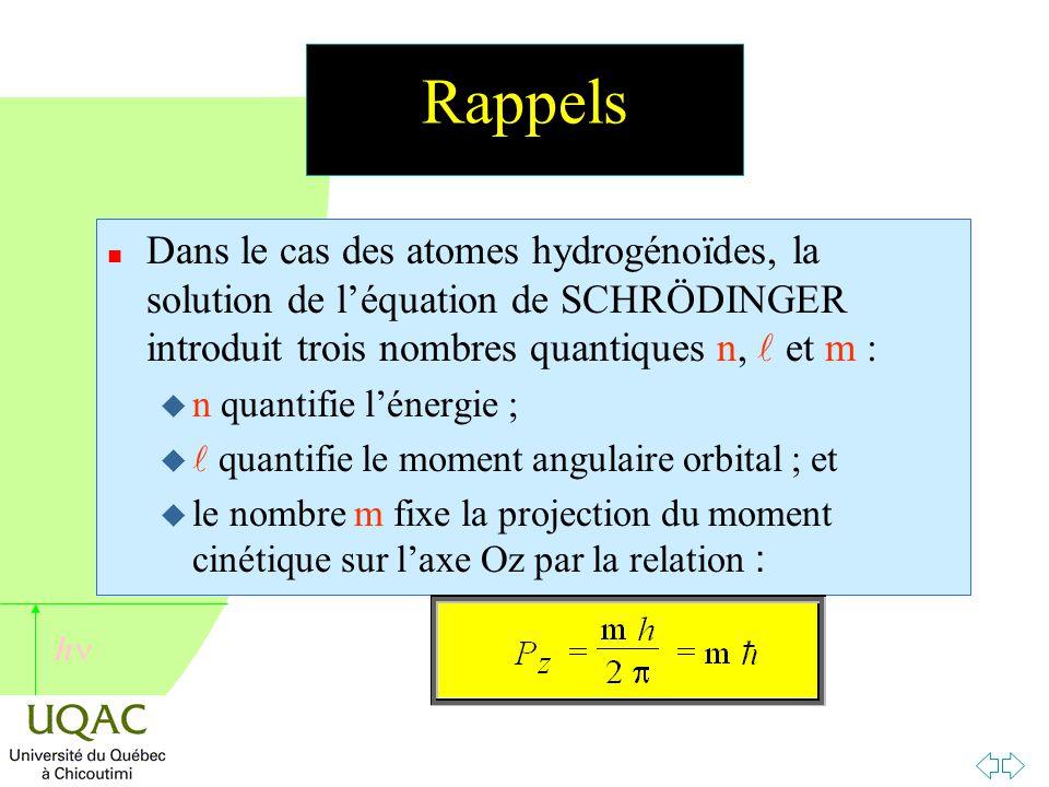 Rappels Dans le cas des atomes hydrogénoïdes, la solution de l'équation de SCHRÖDINGER introduit trois nombres quantiques n,  et m :