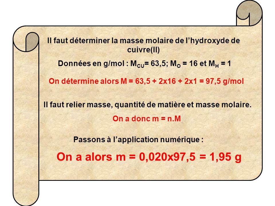 Il faut déterminer la masse molaire de l'hydroxyde de cuivre(II)