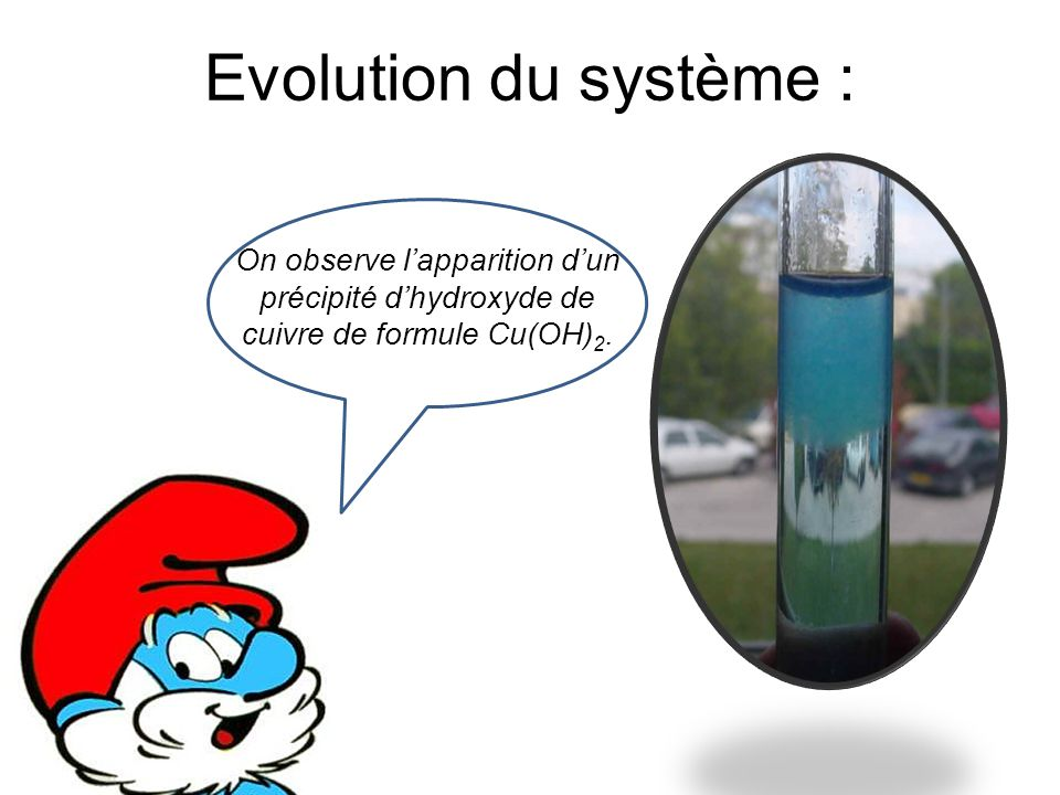 Evolution du système : On observe l'apparition d'un précipité d'hydroxyde de cuivre de formule Cu(OH)2.