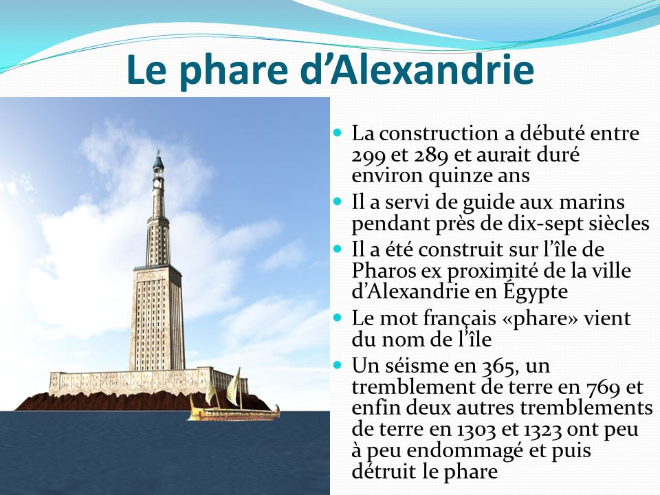 Le phare d'Alexandrie La construction a débuté entre 299 et 289 et aurait duré environ quinze ans.