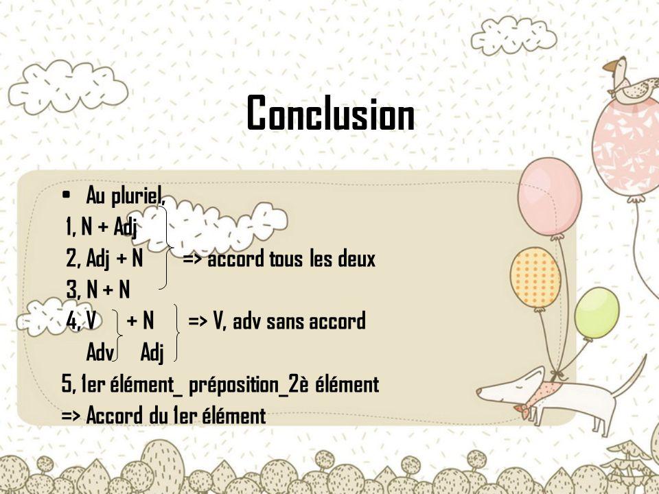 Conclusion Au pluriel, 1, N + Adj