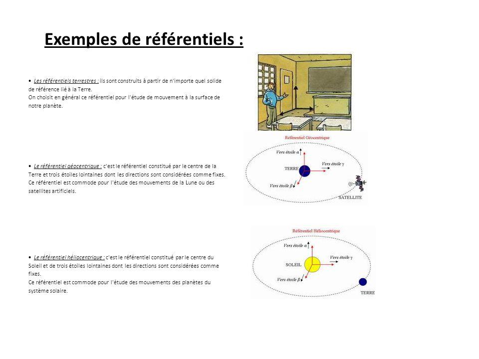 Exemples de référentiels :
