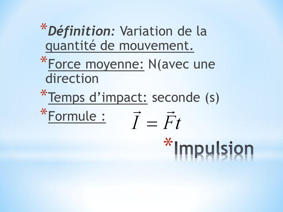 Impulsion Définition: Variation de la quantité de mouvement.