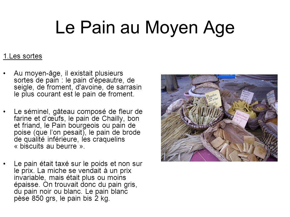 Le Pain au Moyen Age 1.Les sortes