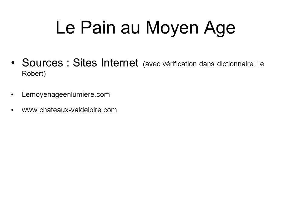 Le Pain au Moyen Age Sources : Sites Internet (avec vérification dans dictionnaire Le Robert) Lemoyenageenlumiere.com.