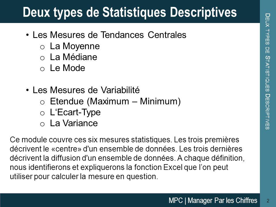 Deux types de Statistiques Descriptives