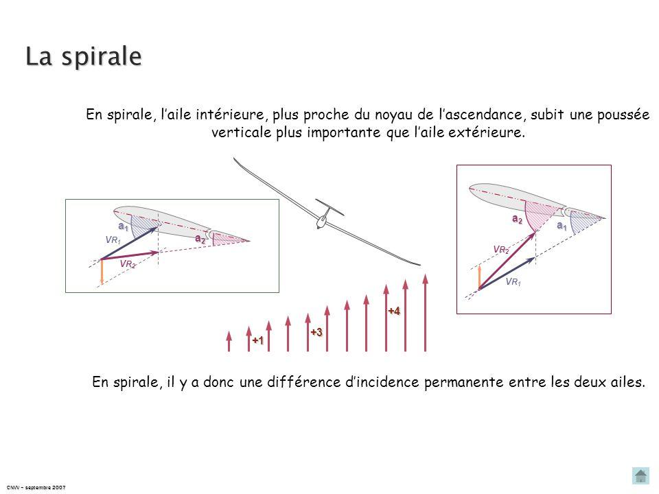 La spirale En spirale, l'aile intérieure, plus proche du noyau de l'ascendance, subit une poussée verticale plus importante que l'aile extérieure.