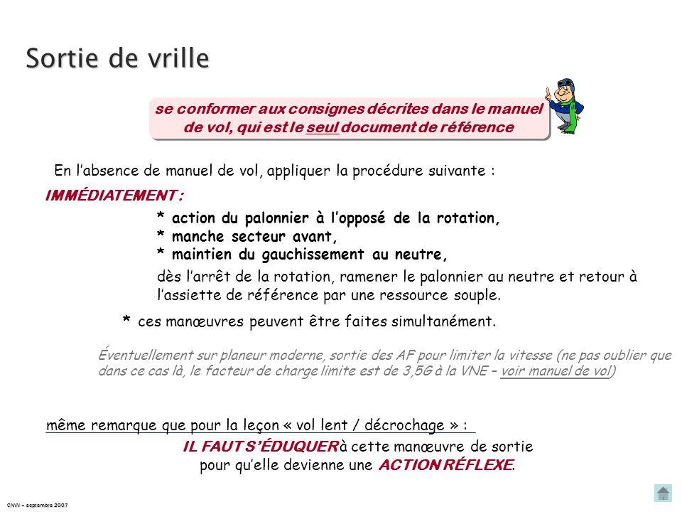 Sortie de vrille se conformer aux consignes décrites dans le manuel de vol, qui est le seul document de référence.