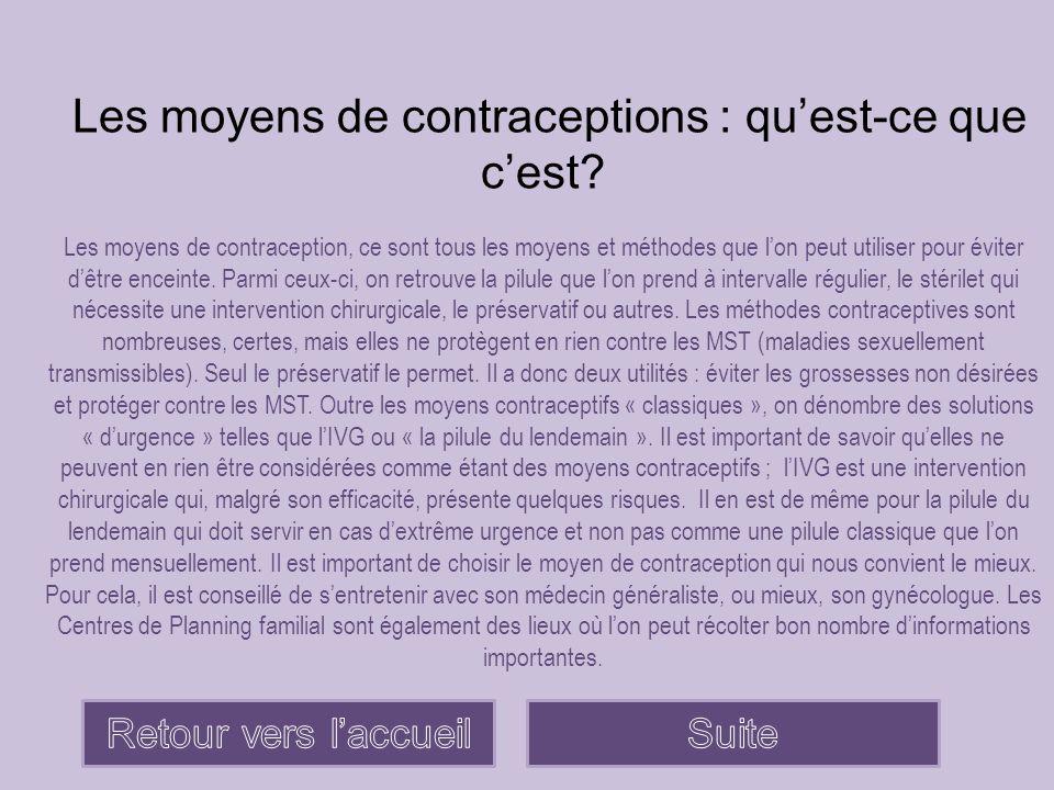 Les moyens de contraceptions : qu'est-ce que c'est