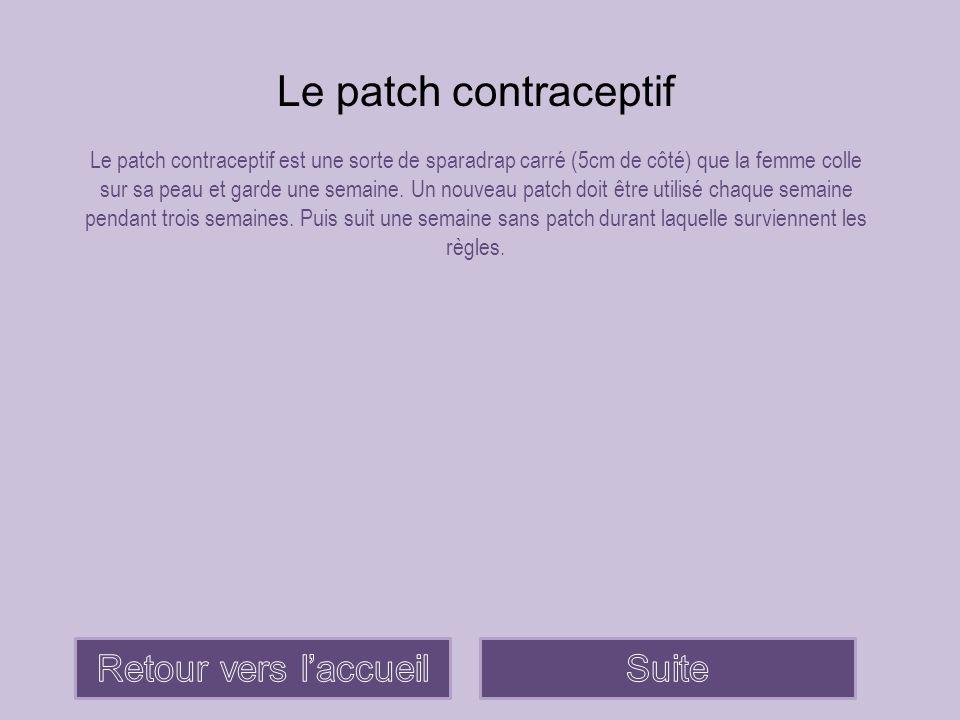Le patch contraceptif Retour vers l'accueil Suite