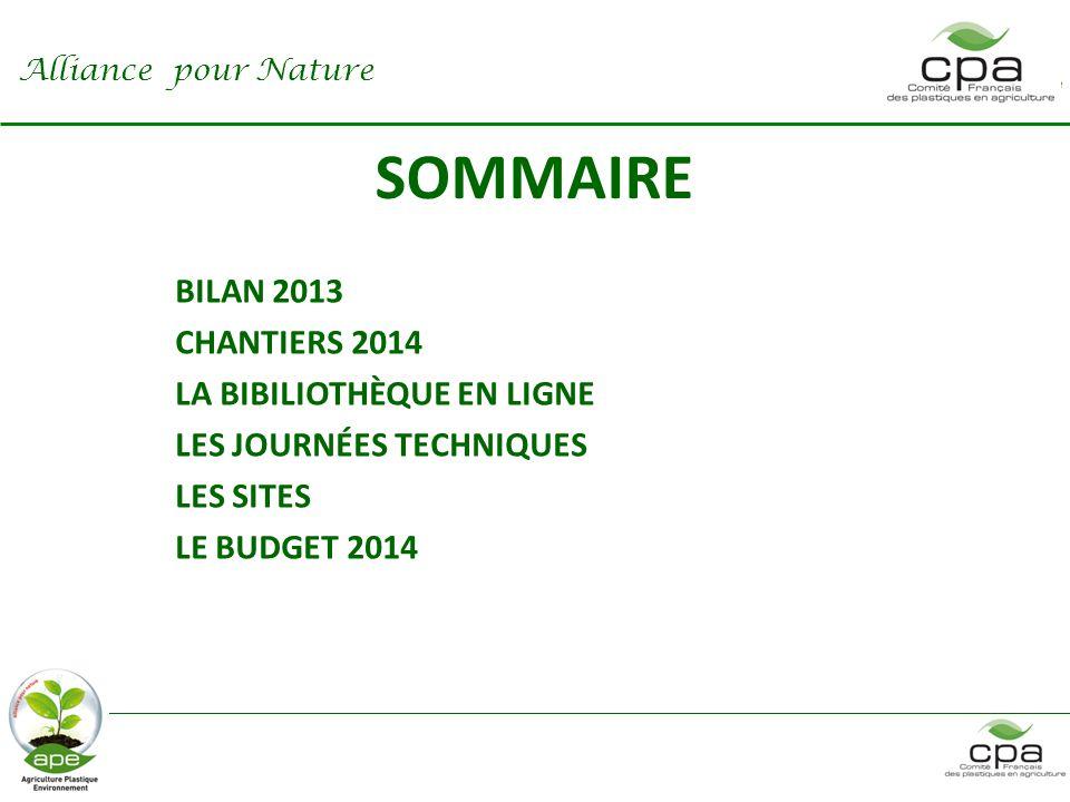 SOMMAIRE BILAN 2013 CHANTIERS 2014 LA BIBILIOTHÈQUE EN LIGNE
