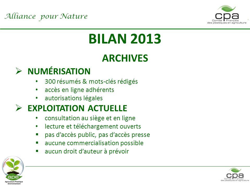 BILAN 2013 ARCHIVES NUMÉRISATION EXPLOITATION ACTUELLE