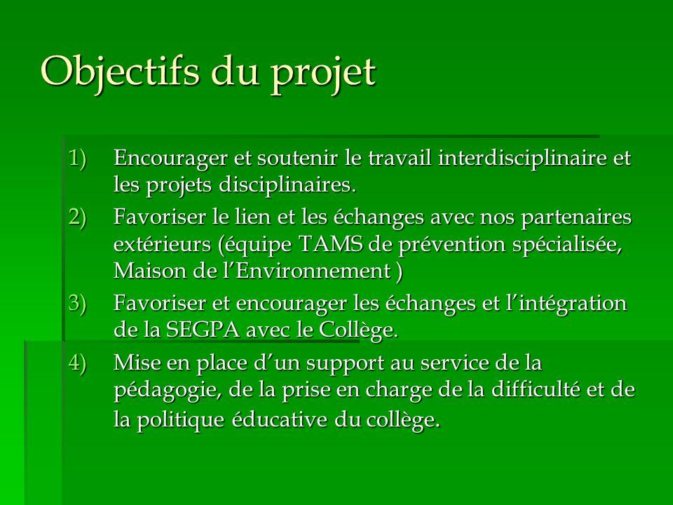 Objectifs du projet Encourager et soutenir le travail interdisciplinaire et les projets disciplinaires.
