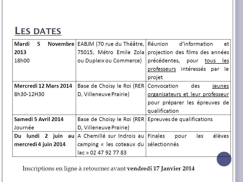 Les dates Mardi 5 Novembre 2013 18h00