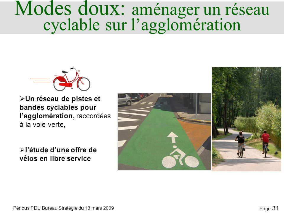 Modes doux: aménager un réseau cyclable sur l'agglomération