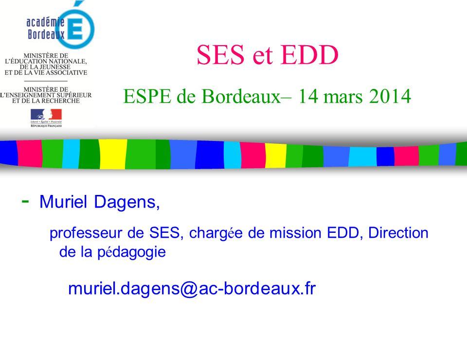 SES et EDD ESPE de Bordeaux– 14 mars 2014