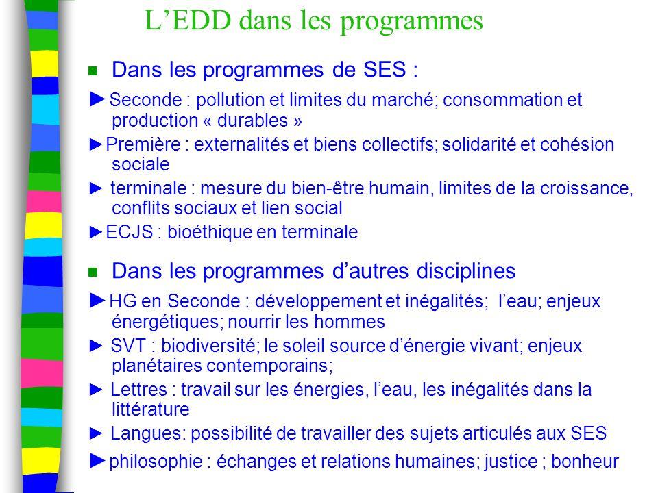 L'EDD dans les programmes