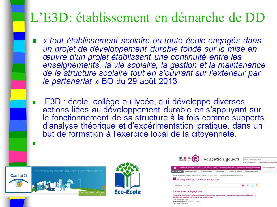 L'E3D: établissement en démarche de DD