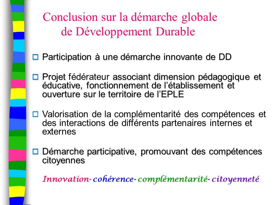 Conclusion sur la démarche globale de Développement Durable