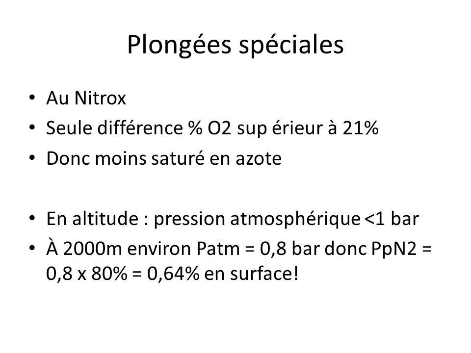 Plongées spéciales Au Nitrox Seule différence % O2 sup érieur à 21%