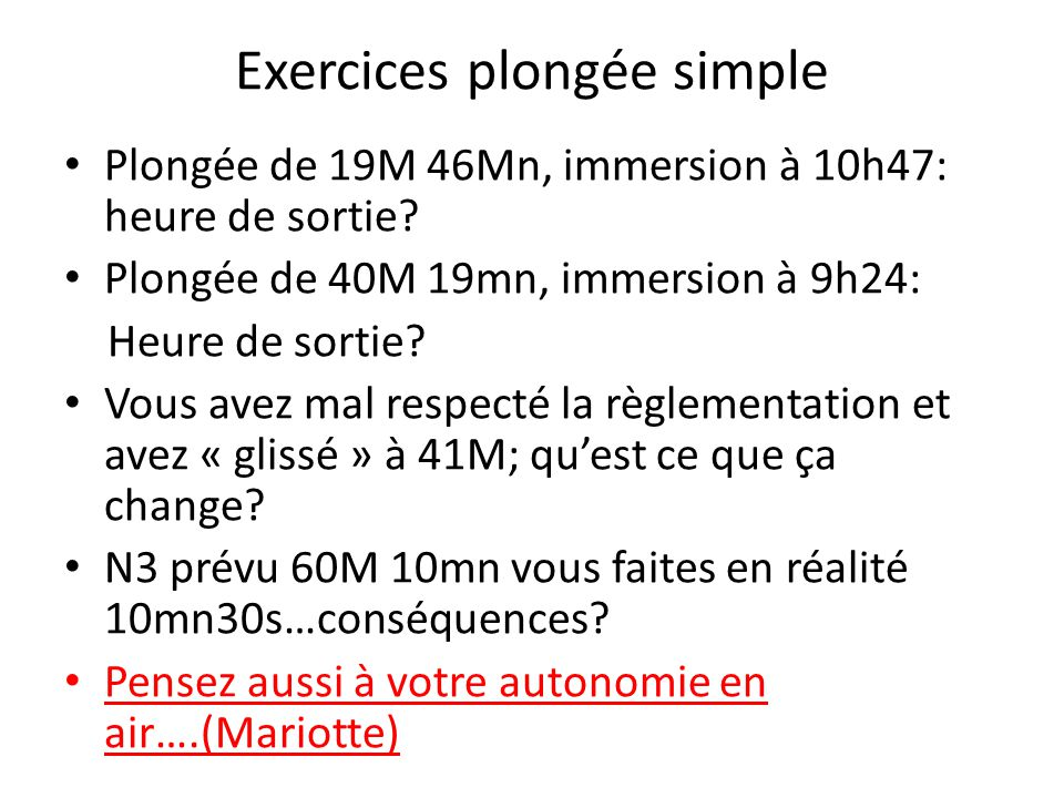 Exercices plongée simple