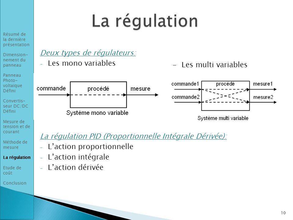 La régulation Deux types de régulateurs: Les mono variables