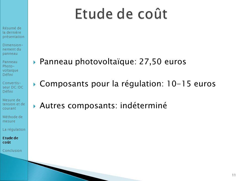 Etude de coût Panneau photovoltaïque: 27,50 euros