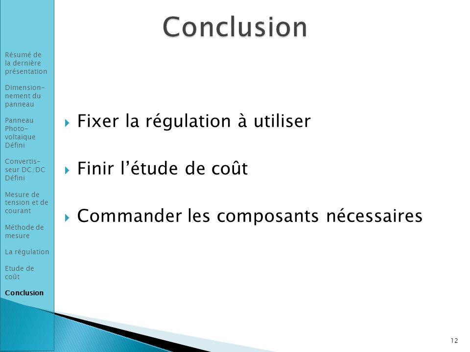 Conclusion Fixer la régulation à utiliser Finir l'étude de coût