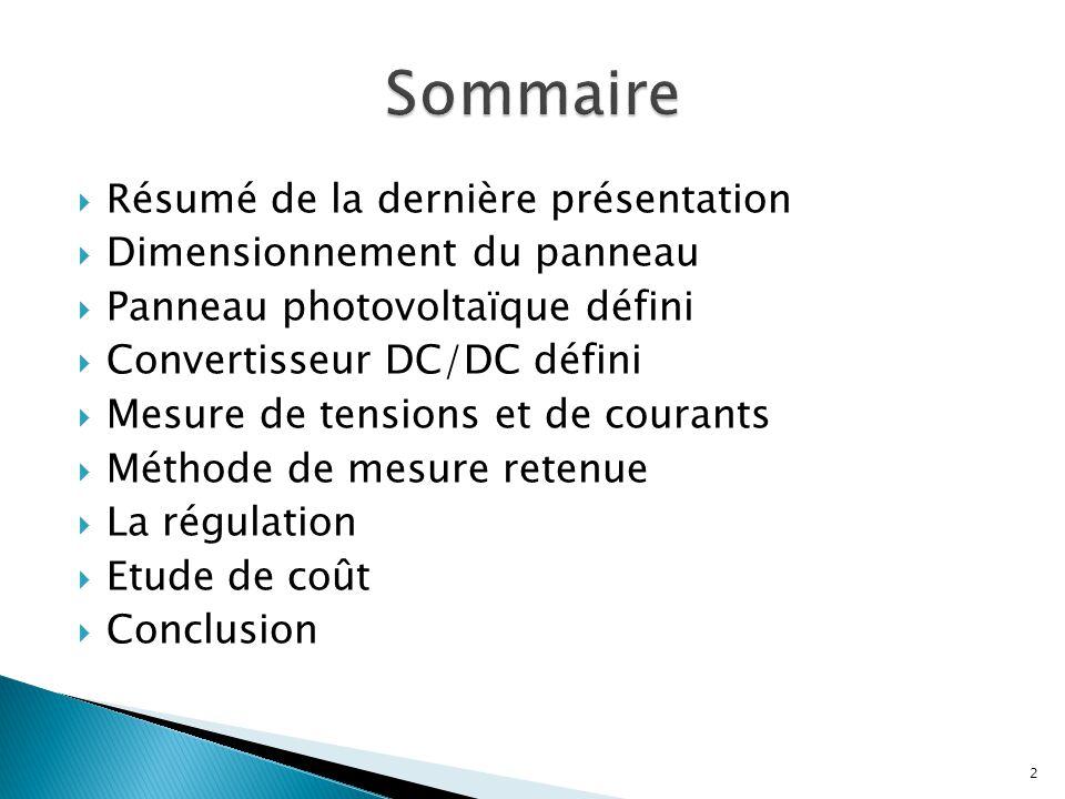 Sommaire Résumé de la dernière présentation Dimensionnement du panneau