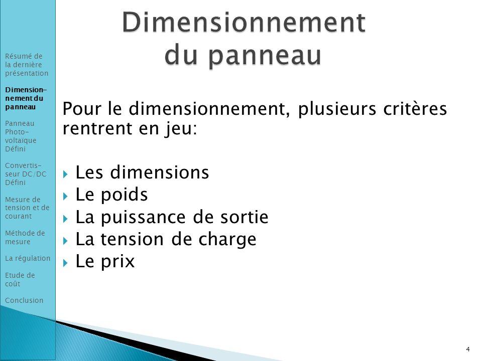 Dimensionnement du panneau