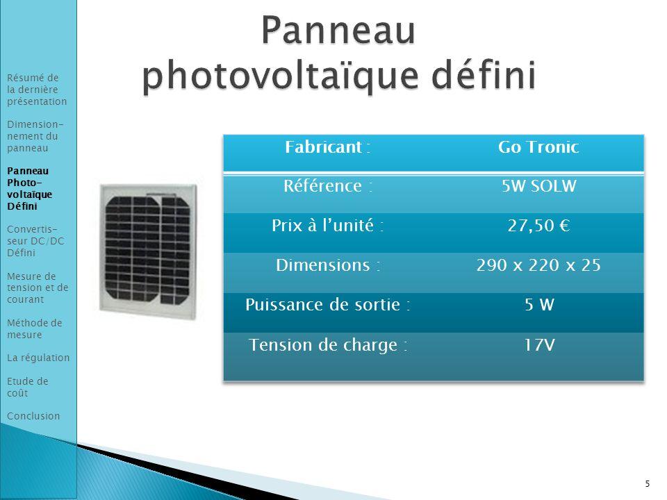 Panneau photovoltaïque défini