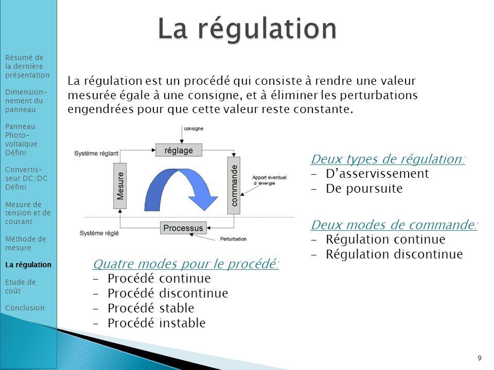 La régulation Deux types de régulation: D'asservissement De poursuite