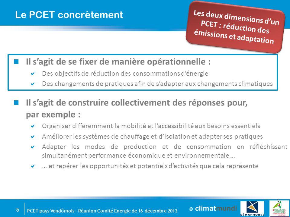 Les deux dimensions d'un PCET : réduction des émissions et adaptation