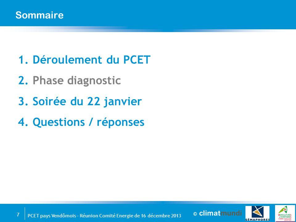 Déroulement du PCET Phase diagnostic Soirée du 22 janvier