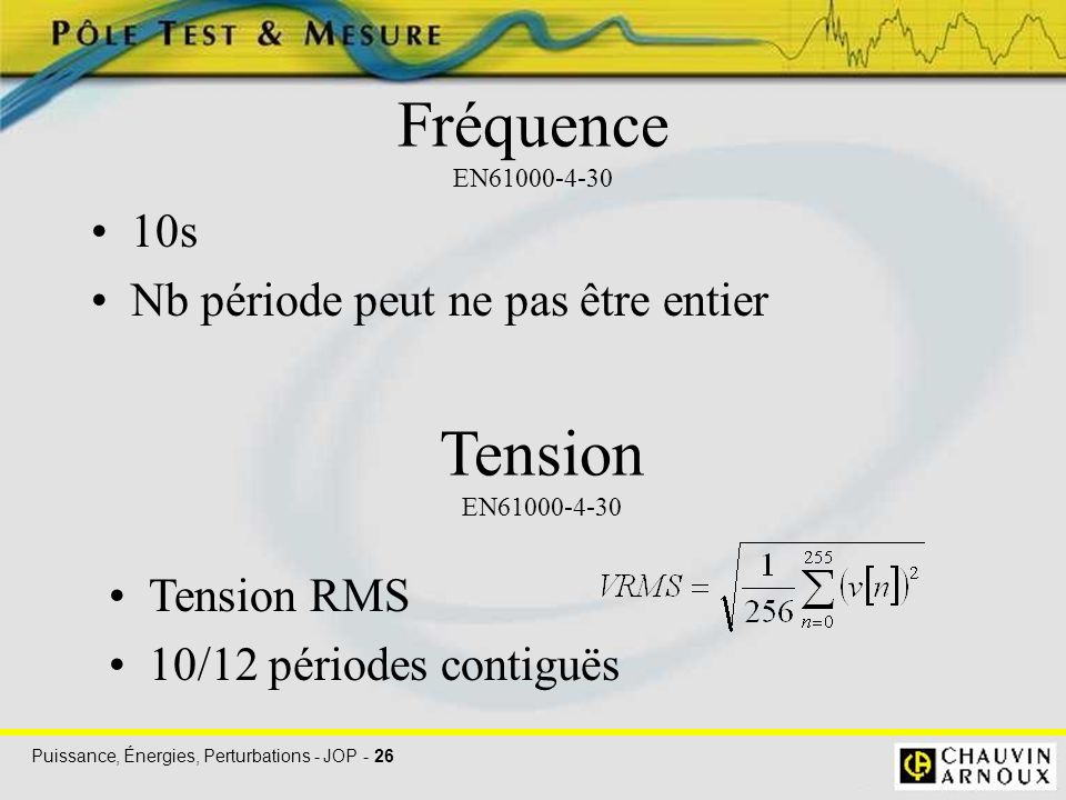 Fréquence EN61000-4-30 Tension EN61000-4-30 10s