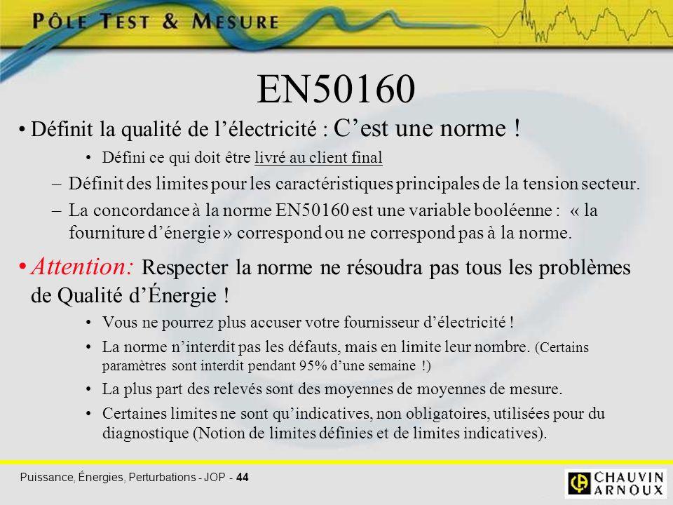 EN50160 Définit la qualité de l'électricité : C'est une norme ! Défini ce qui doit être livré au client final.
