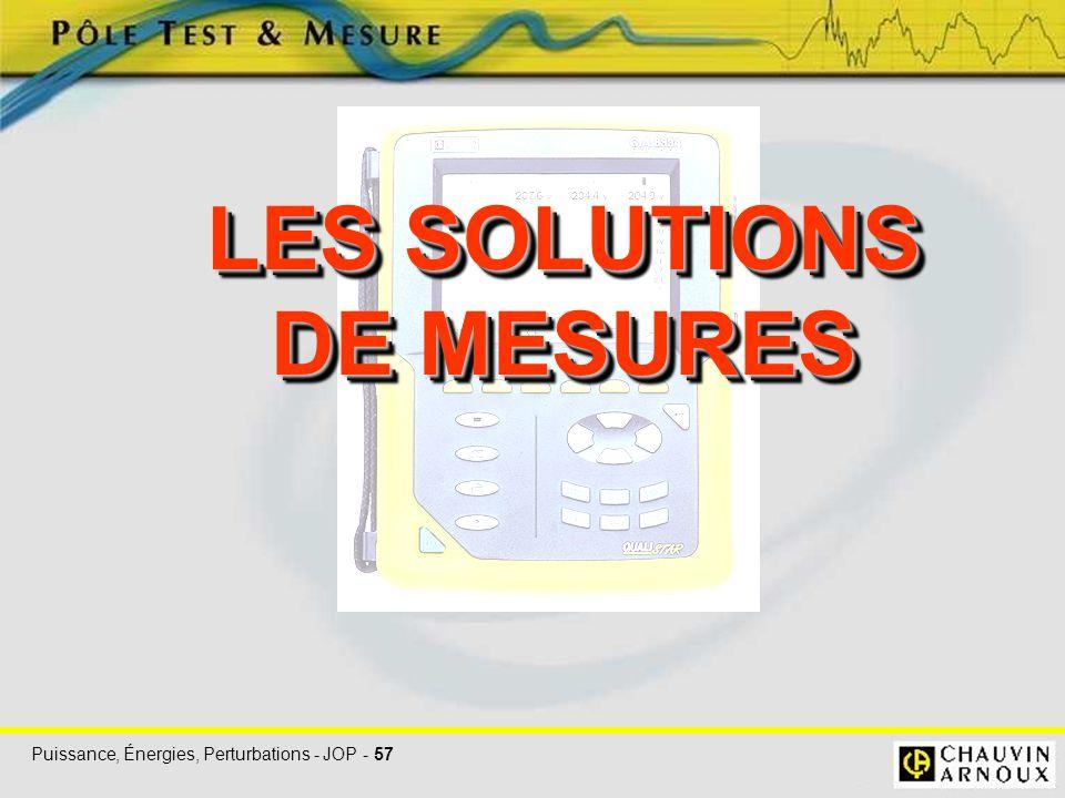 LES SOLUTIONS DE MESURES