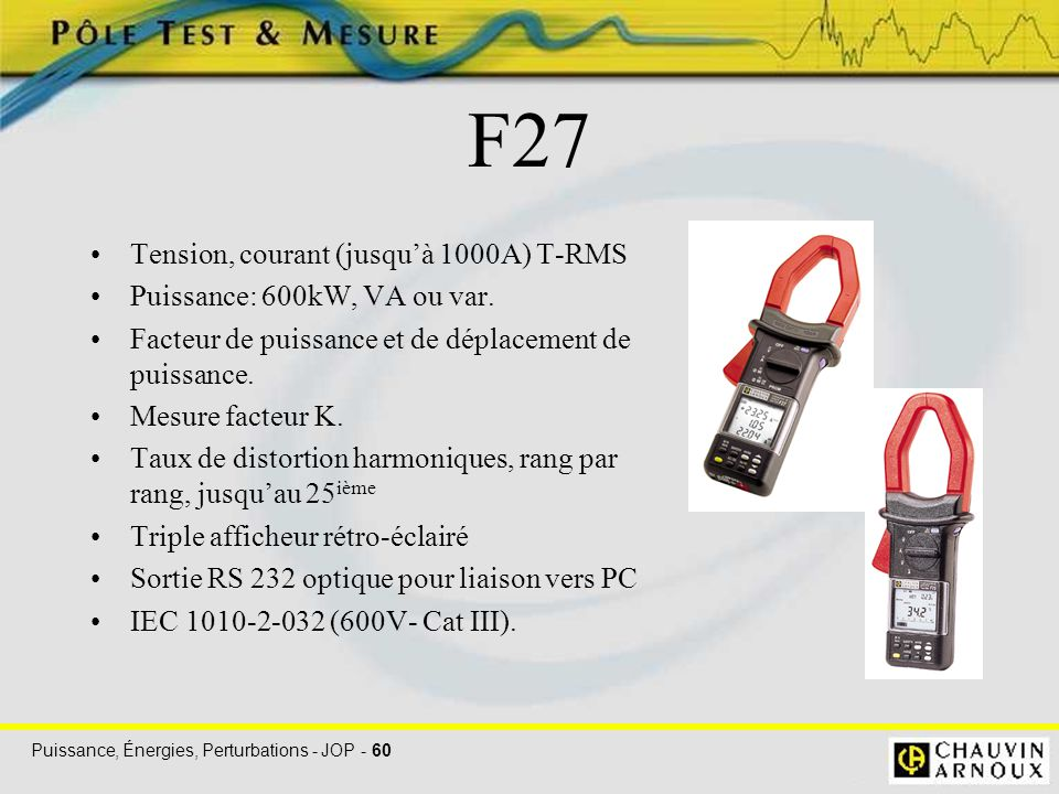 F27 Tension, courant (jusqu'à 1000A) T-RMS
