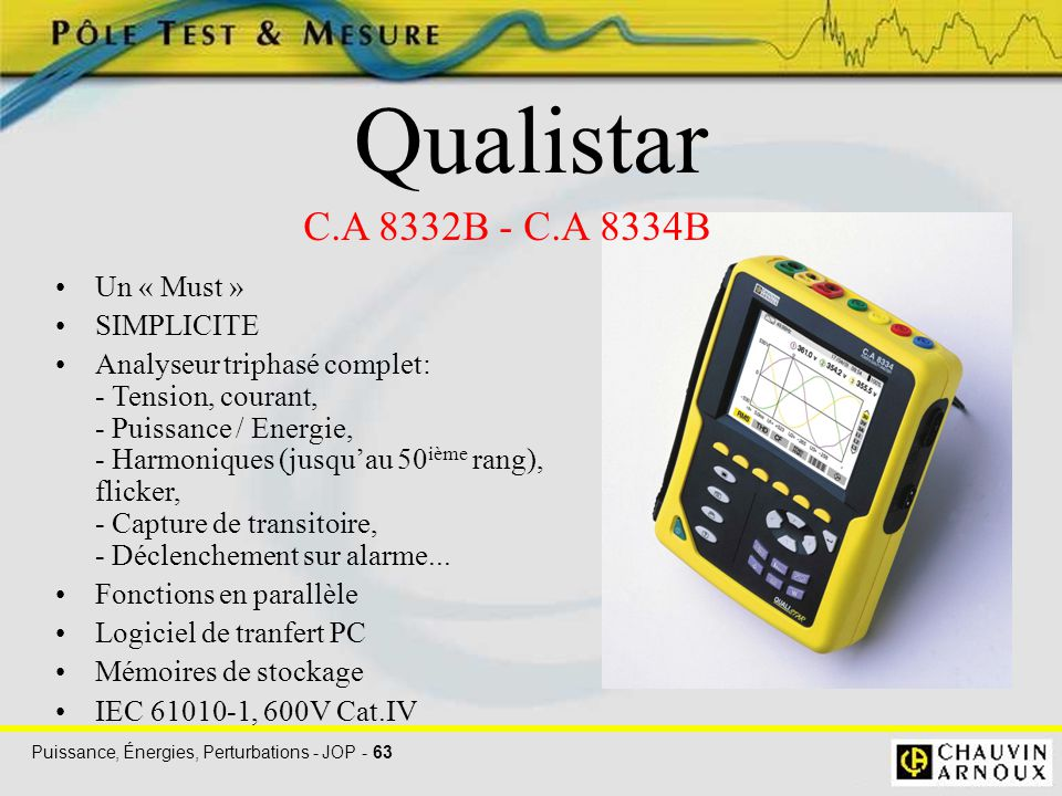 Qualistar C.A 8332B - C.A 8334B Un « Must » SIMPLICITE