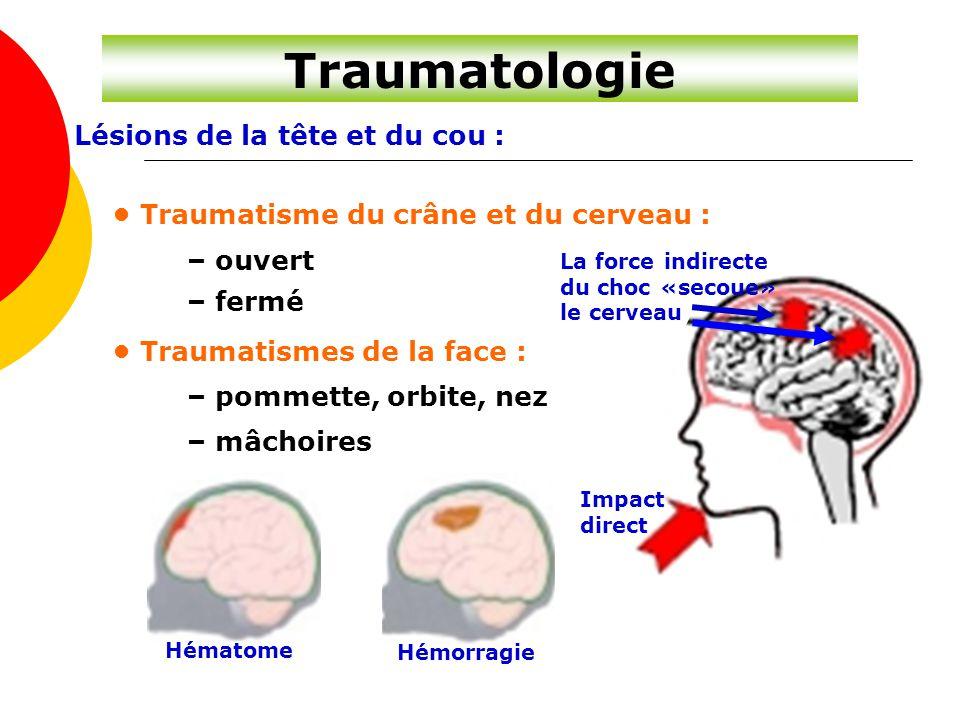 Traumatologie Lésions de la tête et du cou :