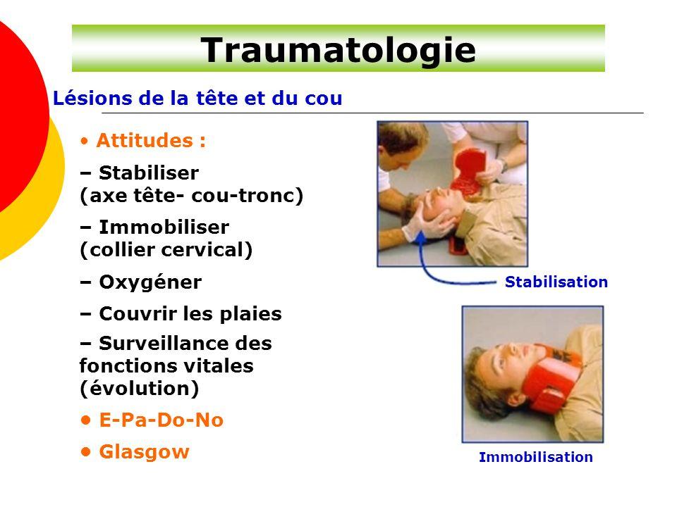 Traumatologie Lésions de la tête et du cou • Attitudes : – Stabiliser
