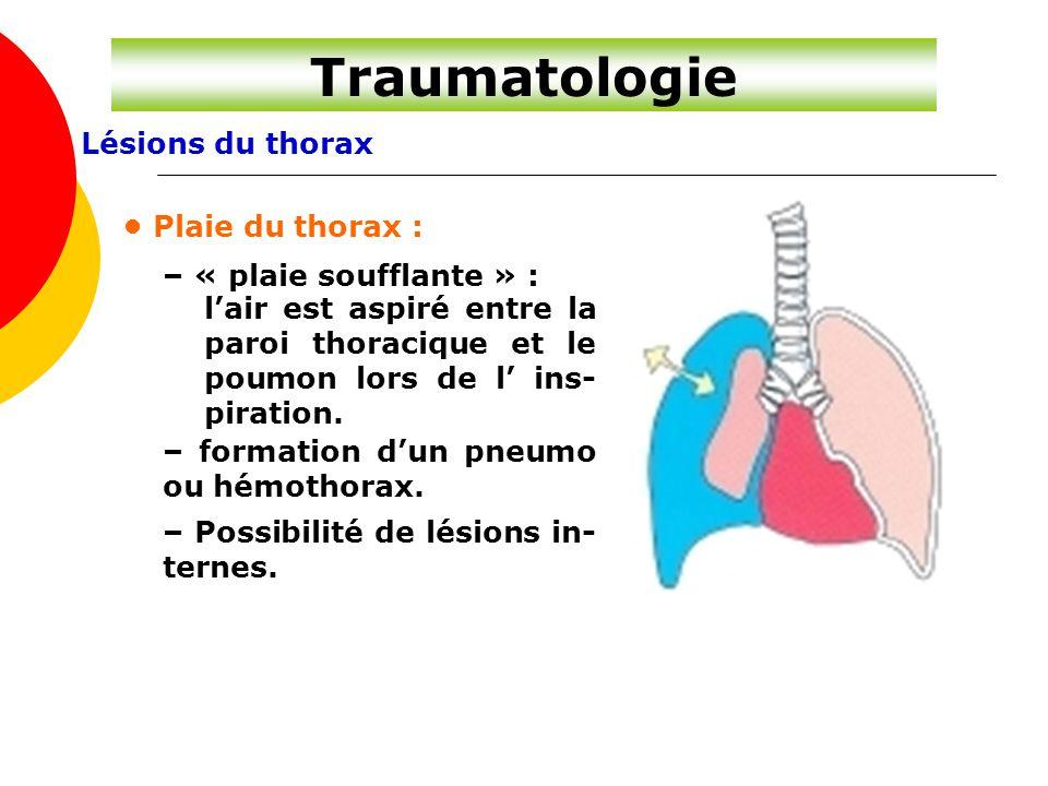 Traumatologie Lésions du thorax • Plaie du thorax :