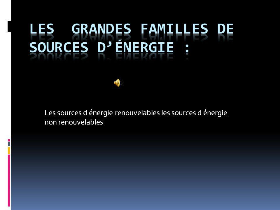 Les grandes familles de sources d'énergie :