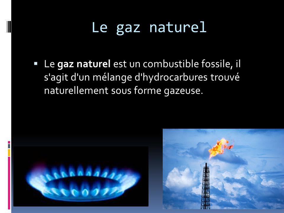 Le gaz naturel Le gaz naturel est un combustible fossile, il s agit d un mélange d hydrocarbures trouvé naturellement sous forme gazeuse.