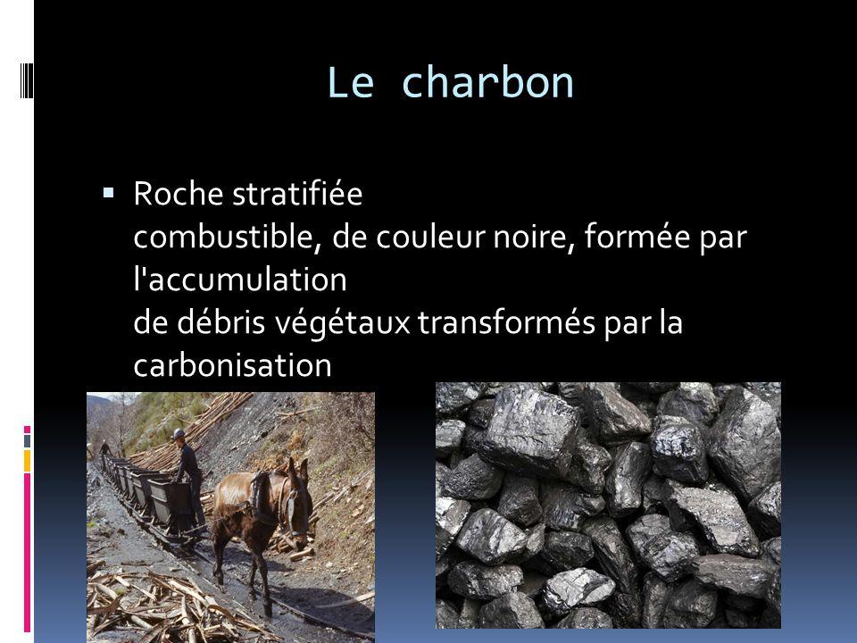 Le charbon Roche stratifiée combustible, de couleur noire, formée par l accumulation de débris végétaux transformés par la carbonisation.