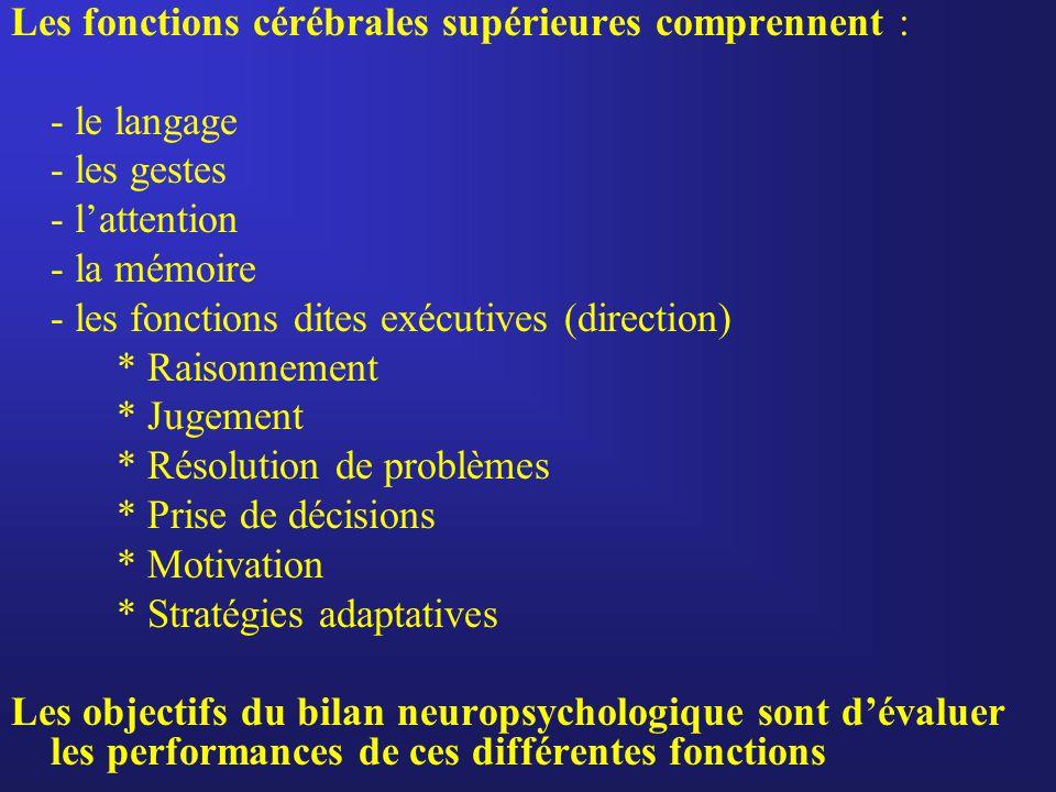 Les fonctions cérébrales supérieures comprennent :