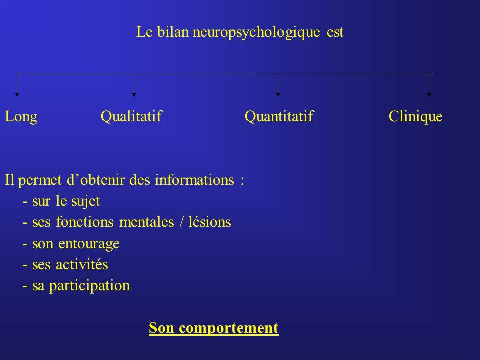 Le bilan neuropsychologique est